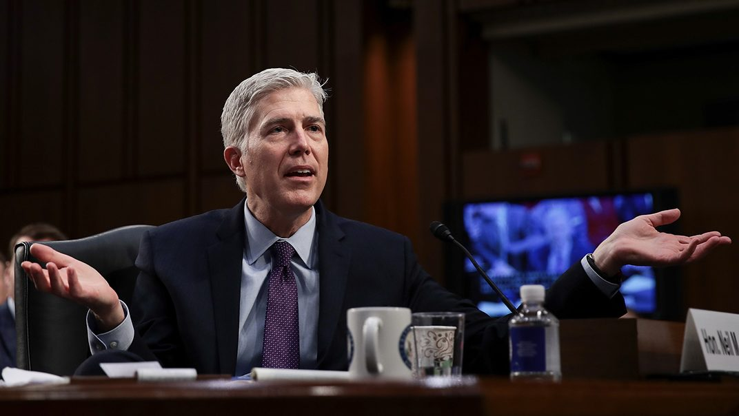 Judge Neil Gorsuch testifies during the second day of his Supreme Court confirmation hearing before the Senate Judiciary Committee in the Hart Senate Office Building on Capitol Hill, March 21, 2017 in Washington. Gorsuch was nominated by President Donald Trump to fill the vacancy left on the court by the February 2016 death of Associate Justice Antonin Scalia. (Photo by Drew Angerer/Getty Images)