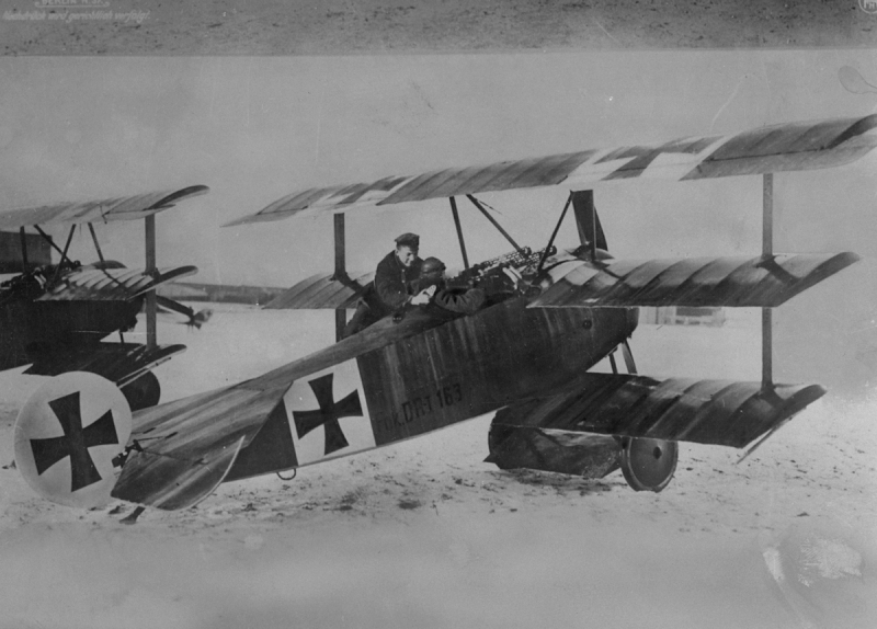 World War I German flying ace Baron von Richthofen with one of his aircraft, a triplane. (Photo by Time Life Pictures/Mansell/The LIFE Picture Collection/Getty Images)