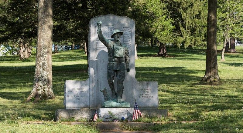 "The ""Spirit of the American Doughboy"" World War I memorial at Wheeling Park in Wheeling, West Virginia"