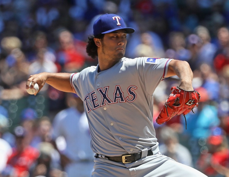 CHICAGO, IL - JULY 16: Starting pitcher Yu Darvish #11 of the Texas Rangers delivers the ball against the Chicago Cubs at Wrigley Field on July 16, 2016 in Chicago, Illinois. (Photo by Jonathan Daniel/Getty Images)