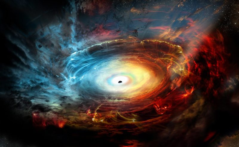 The supermassive black hole at the center of our galaxy is hidden behind dense clouds of dust and gas. With the combined power of a worldwide network of radio telescopes, astronomers hope to peer into the heart of our galaxy and image -- for the first time -- the very edges of a black hole. When this network observes radio waves of one millimeter wavelengths, its magnifying power is high enough to see details at the black hole boundary. (NRAO/AUI/NSF)