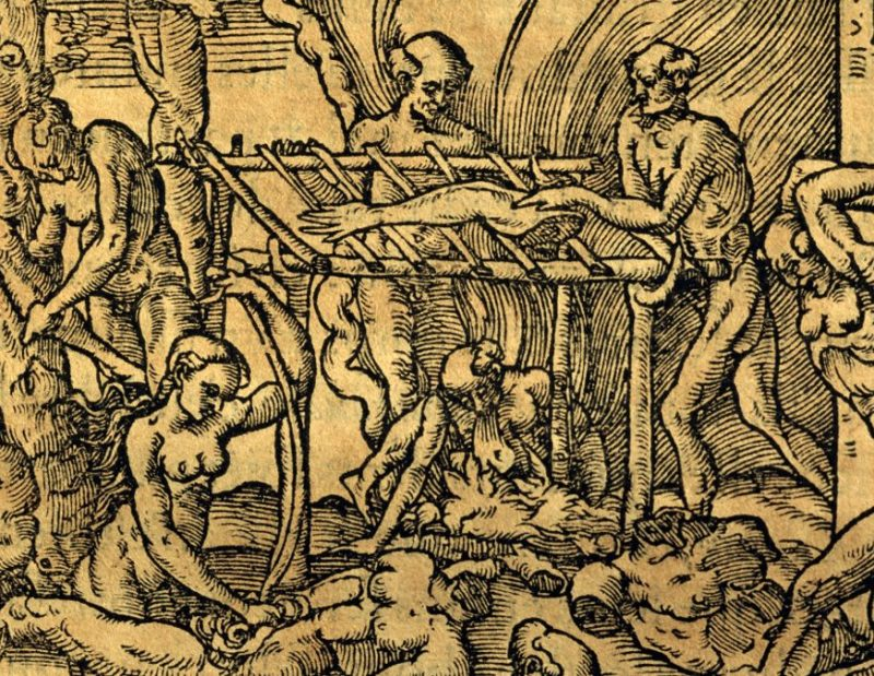 Tupinamba cannibal tribe in Brazil, engraving by Andre' Thevet (DeAgostini/Getty Images)