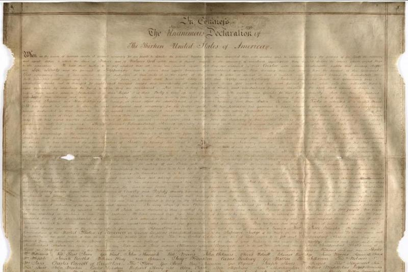 Undated handout photo of a parchment manuscript of the U.S. Declaration of Independence, believed to date from the 1780s and was found in a records office in Chichester, southern England. (West Sussex Record Office Add Mss 898)