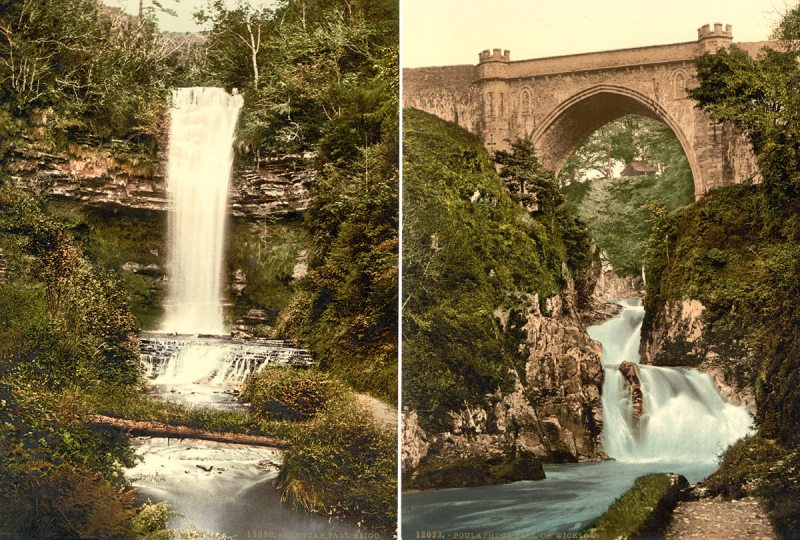 Left: Glencar Fall. County Sligo; Right: Poulaphuca Fall. County Wicklow (Library of Congress)