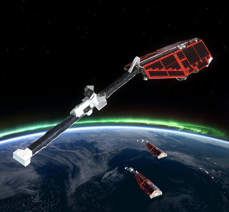 Swarm is ESA's first constellation of Earth observation satellites designed to measure the magnetic signals from Earth's core, mantle, crust, oceans, ionosphere and magnetosphere, providing data that will allow scientists to study the complexities of our protective magnetic field. (ESA)