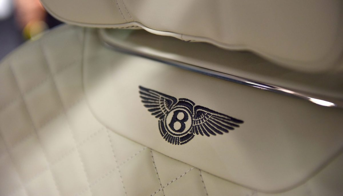 A logo on the interior of a Bentley Bentayga on display at the London Motor Show. (John Keeble/Getty Images)