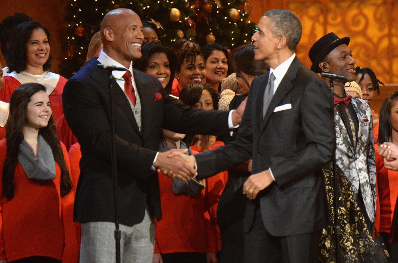 "Dwayne ""The Rock"" Johnson and U.S. President Barack Obama"