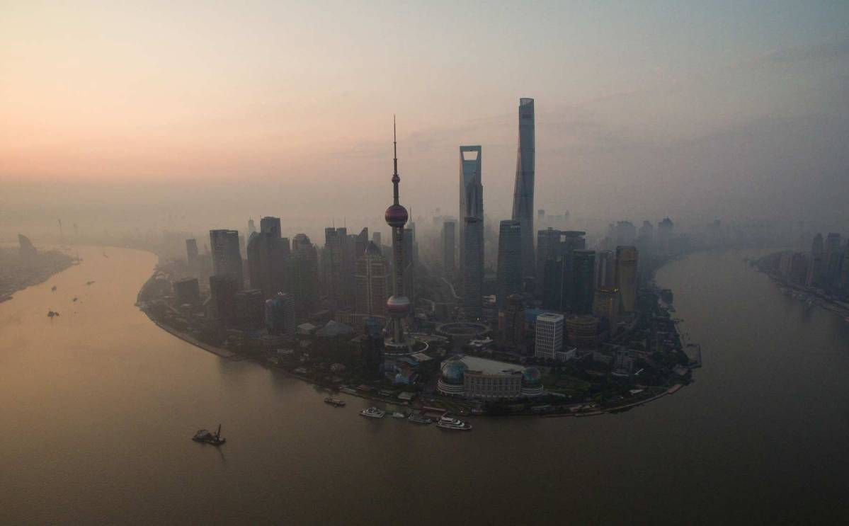 A general view shows the financial district of Lujiazui in Shanghai early on June 23, 2016. (Johannes Eisele/AFP/Getty Images)