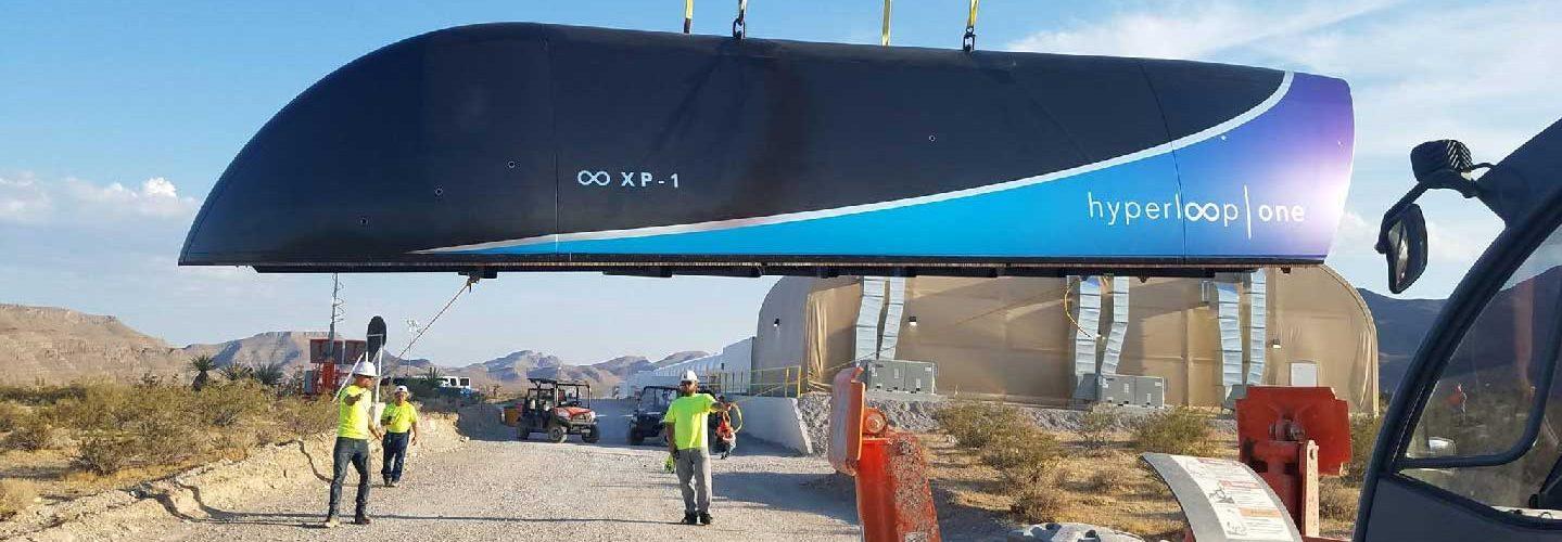Hyperloop One's XP-1 vehicle being prepared for testing in Nevada. (Hyperloop One)