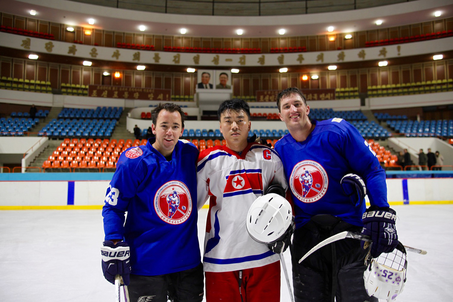 Members of the Pyongyang Ice Hockey including players from the DPRK national team and foreign tourists. (Courtesy Howe International Friendship League)