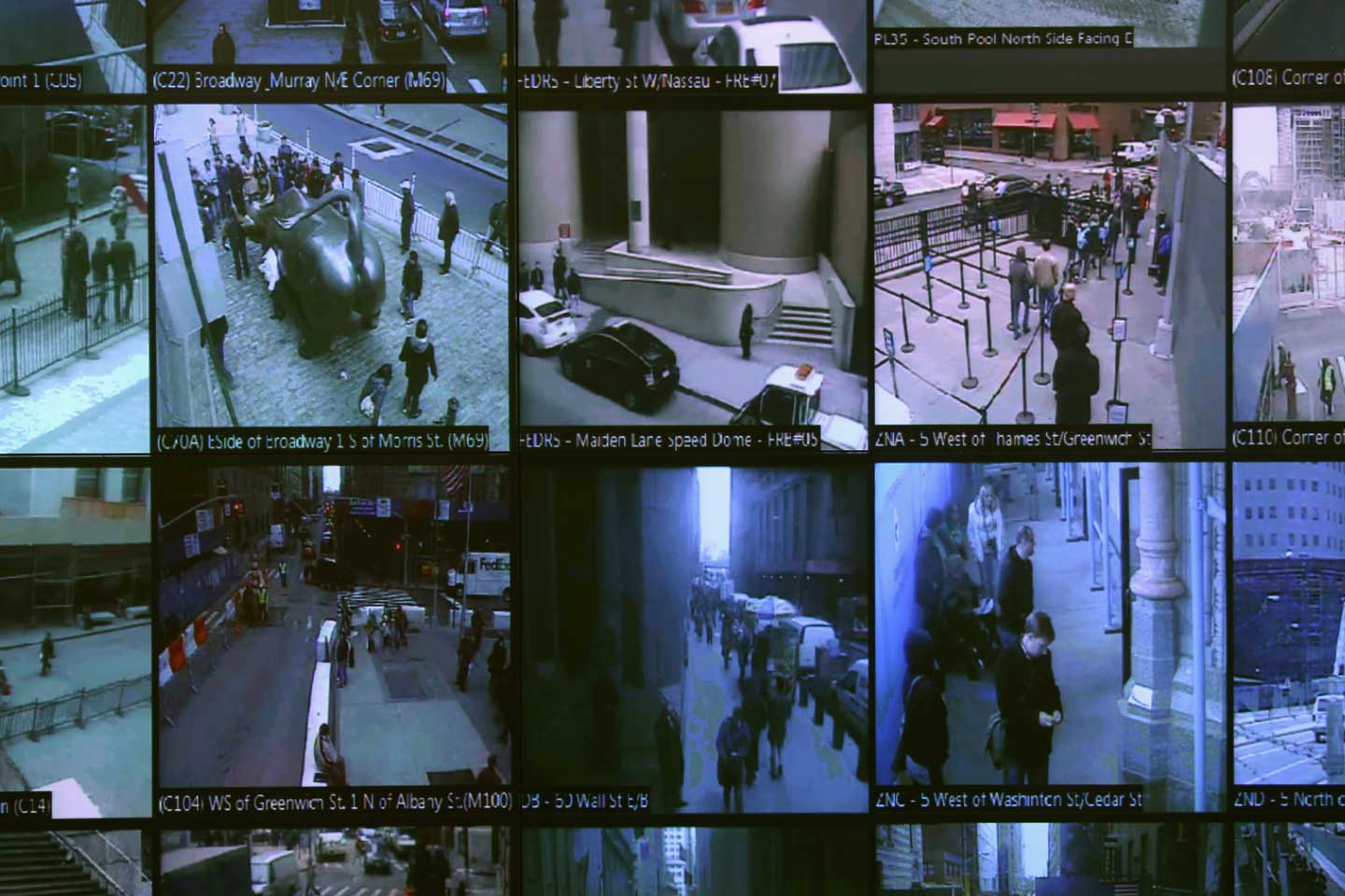 "Monitors show imagery from security cameras seen at the Lower Manhattan Security Initiative on April 23, 2013 in New York City. At the counter-terrorism center, police and private security personnel monitor more than 4,000 surveillance cameras and license plate readers mounted around the Financial District and surrounding parts of Lower Manhattan. Designed to identify potential threats it is modeled after London's ""Ring of Steel"" system.  (John Moore/Getty Images)"