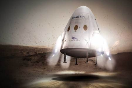 Concept art of Musk's original Red Dragon plan, using thrusters to land on Mars. (SpaceX)