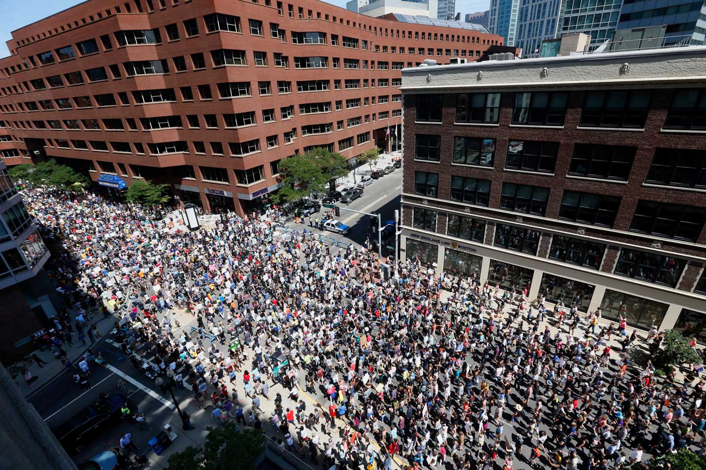 Thousands of counter protesters marching to a planned 'Free Speech Rally' on Boston Common on August 19, 2017 in Boston, Massachusetts. Thousands of demonstrators and counter-protestors are expected at Boston Common where the Boston Free Speech Rally is being held. (Scott Eisen/Getty Images)