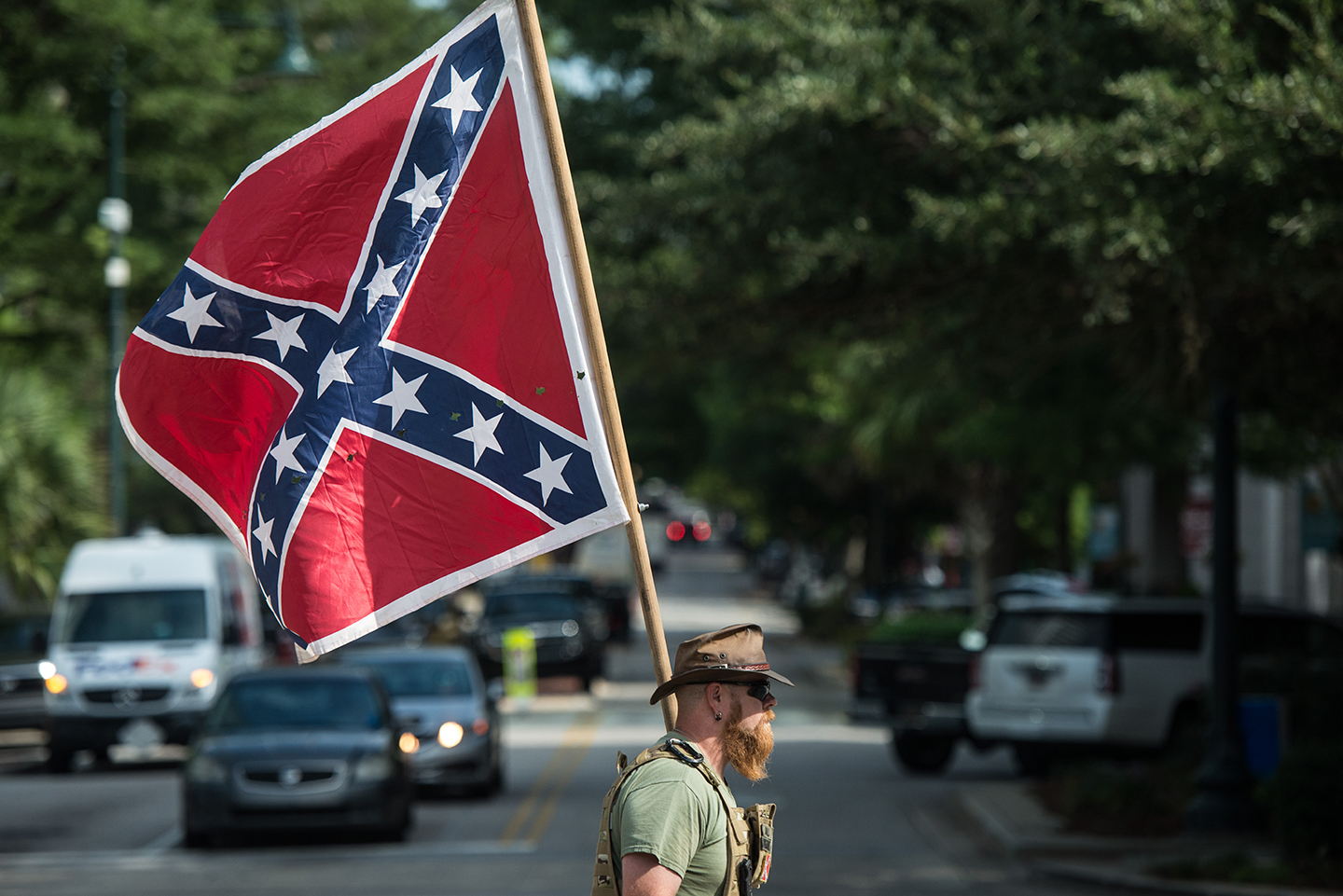A Confederate flag supporter