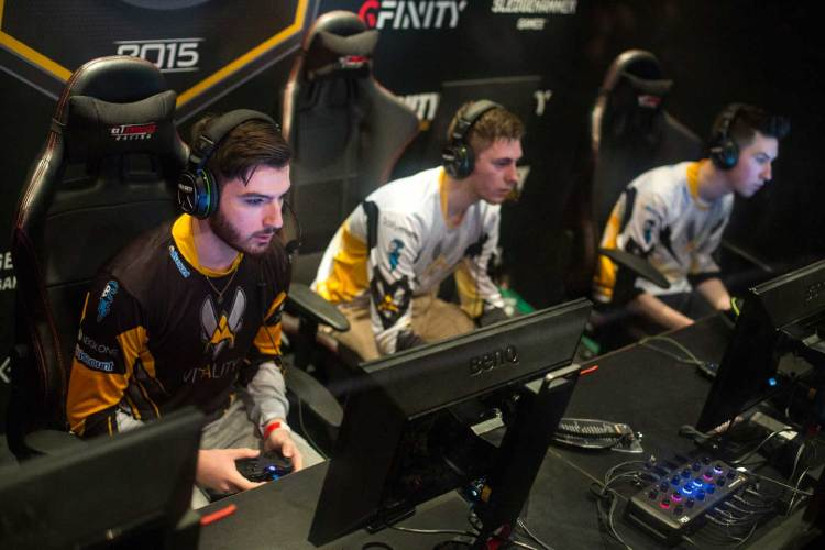 Team Vitality from France takes part in a qualifying match at the 2015 Call of Duty European Championships at The Royal Opera House on March 1, 2015 in London, England.  The event sees 28 teams from across Europe and the Middle East compete in order to qualify for the 2015 Call of Duty world finals in Los Angeles on 27 March, 2015. Electronic sports (eSports) are increasing in popularity with over 70 million people regularly streaming eSports tournaments online last year. (Rob Stothard/Getty Images)