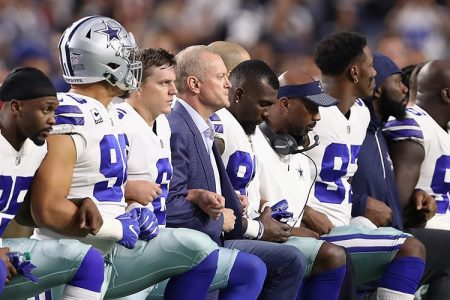 Dallas Cowboys Jerry Jones owner says player who kneel during anthem won't play.