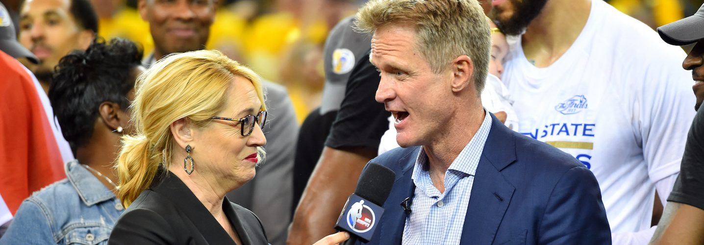 OAKLAND, CA - JUNE 12: Steve Kerr of the Golden State Warriors talks with ESPN reporter Doris Burke after their victory against the Cleveland Cavaliers in Game Five of the 2017 NBA Finals on June 12, 2017 at ORACLE Arena in Oakland, California. NOTE TO USER: User expressly acknowledges and agrees that, by downloading and or using this photograph, user is consenting to the terms and conditions of Getty Images License Agreement. Mandatory Copyright Notice: Copyright 2017 NBAE (Photo by Jesse D. Garrabrant/NBAE via Getty Images)