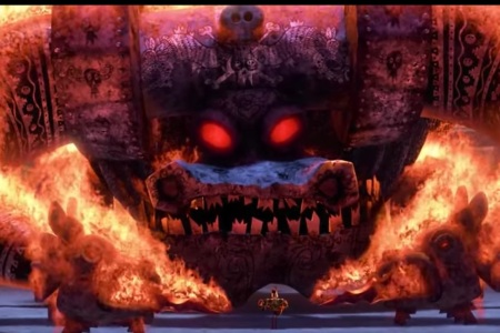 A giant bull skeleton that turns out to be a softie in 'The Book of Life.'