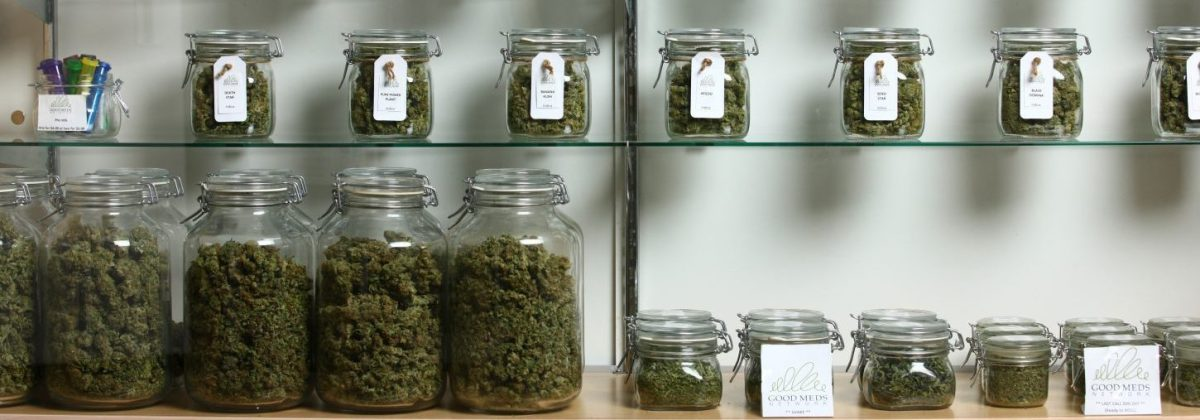 Jars of medical cannabis line the shelves inside a Good Meds medical cannabis center. (Photo by Matthew Staver/For The Washington Post via Getty Images)