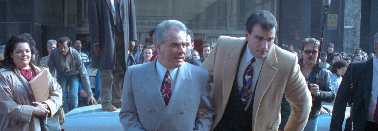 Mob boss John Gotti outside court during a lunch break. The jury ultimately acquitted the Dapper Don of all charges in the shooting of a union leader. (Getty Images)