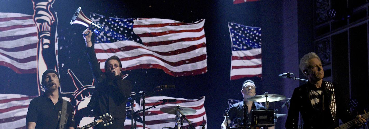 Irish band U2 plays on 'Saturday Night Live.' (Photo by: Will Heath/NBC/NBCU Photo Bank via Getty Images.)