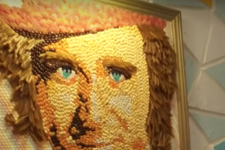 A portrait of Willy Wonka, made from candy (or candy substitute).