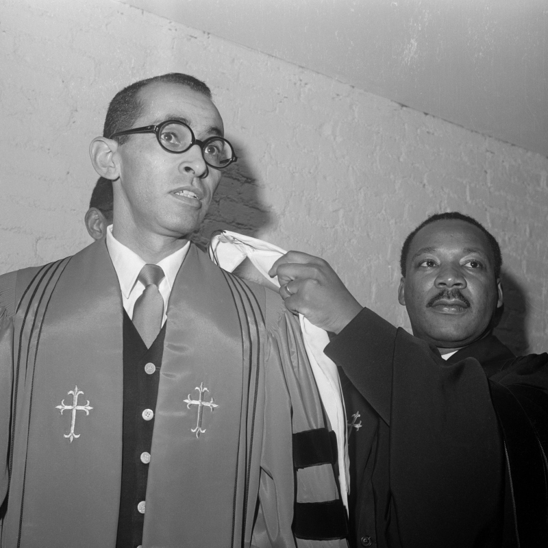 Civil rights leader Dr. Martin Luther King (right) installs the Rev. Wyatt T. Walker as pastor of the New Canaan Baptist Church.