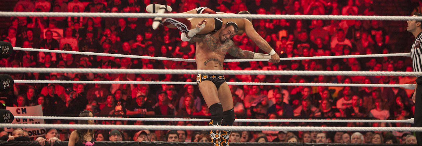 Daniel Bryan and CW Punk during the WWE Raw event at Rose Garden arena in Portland. (Photo by Chris Ryan/Corbis via Getty Images)