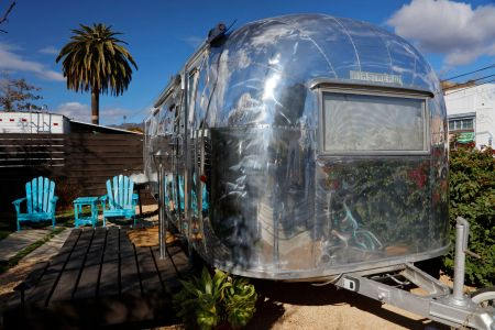 Classic Airstream trailer is seen in Santa Barbara, CA as a overnight rental. (Photo by:  Visions of America/UIG via Getty Images)