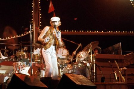 Beach Boys in concert: L-R: Al Jardine, Mike Love, Carl Wilson  (Photo by Richard E. Aaron/Redferns)
