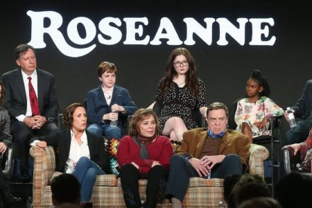 Roseanne Barr and cast/crew of 'Roseanne' onstage during the ABC Television/Disney portion of the 2018 Winter Television Critics Association Press Tour.  (Photo by Frederick M. Brown/Getty Images.)