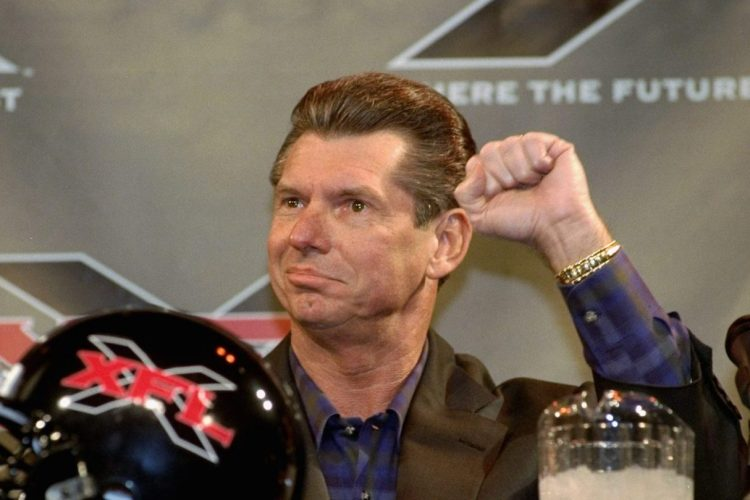 WWE chairman Vince McMahon announces the creation of the XFL, a new professional football league to rival the NFL. (Robert Rosamilio/NY Daily News Archive via Getty Images)