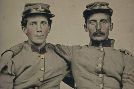 Brothers Private Henry Luther and First Sergeant Herbert E. Larrabee of Company B, 17th Massachusetts Infantry Regiment. Taken between 1861 and 1865.
