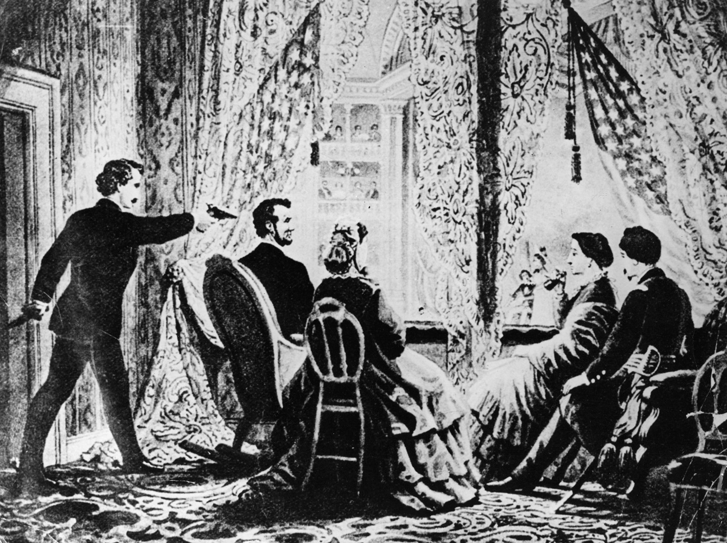 14th April 1865: The assassination of the 16th President of the United States, Abraham Lincoln by actor John Wilkes Booth at Ford's Theatre, Washington DC. (Hulton Archive/Getty Images)