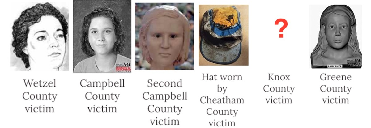 Facial reconstructions of victims from the Redhead Murders. (Wikiwand)