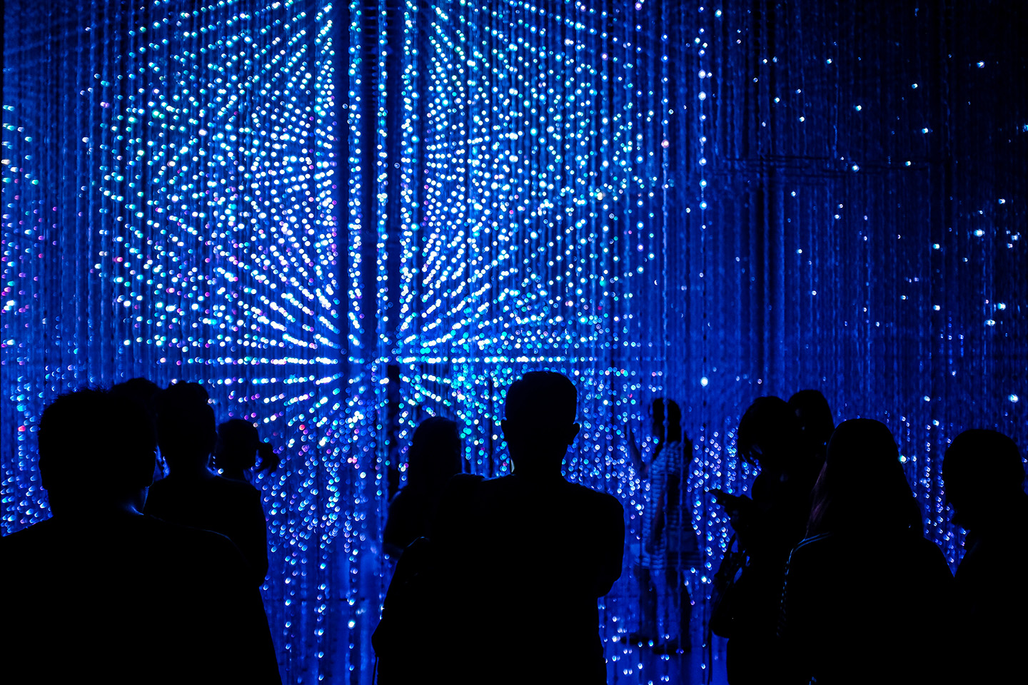 The Crystal Universe, an interactive installation by teamLab at the Future World exhibition, ArtScience Museum in Singapore. (Stefan Irvine/LightRocket via Getty Images)