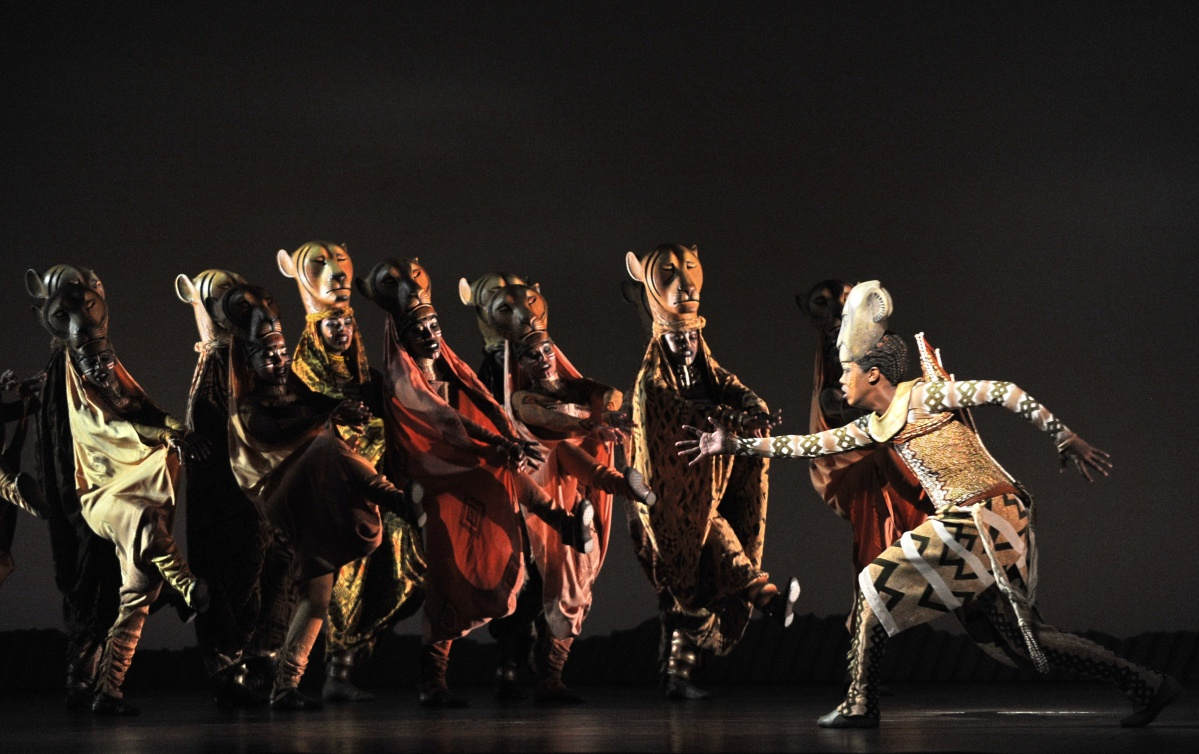 Nyala (R) played by Puleng March of South Africa, performs during a media preview of the Lion King musical performance in Singapore on March 9, 2011. The award-winning broadway musical event, the Lion King celebrates its debut in Southeast Asia at the Marina Bay Sands theatre on March 10.  (Roslan Roman/AFP/Getty Images)
