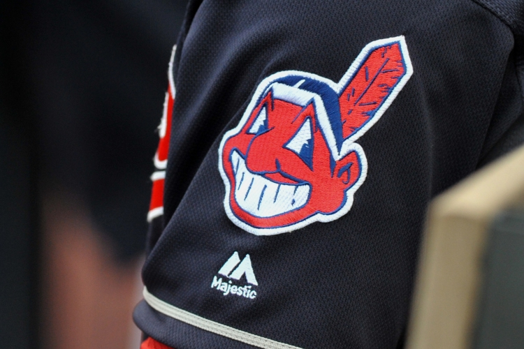A view of the Chief Wahoo logo on the sleeve of shortstop Francisco Lindor #12 of the Clevleand Indians during a game against the Cincinnati Reds on May 17, 2016 at Progressive Field in Cleveland, Ohio. Cleveland won 13-1. (Nick Cammett/Diamond Images/Getty Images)