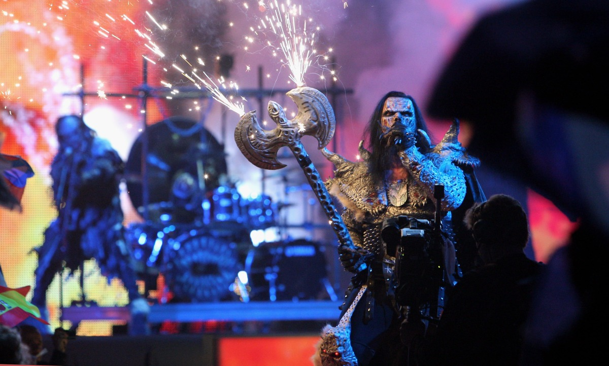 Lordi performs at the finals of the 2007 Eurovision Song Contest. (Photo by Johannes Simon/Getty Images)