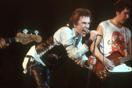 Singer Johnny Rotten and guitarist Steve Jones of the punk band 'The Sex Pistols' perform their last concert in Winterland on January 14, 1978 in San Francisco. (Michael Ochs Archives/Getty Images)