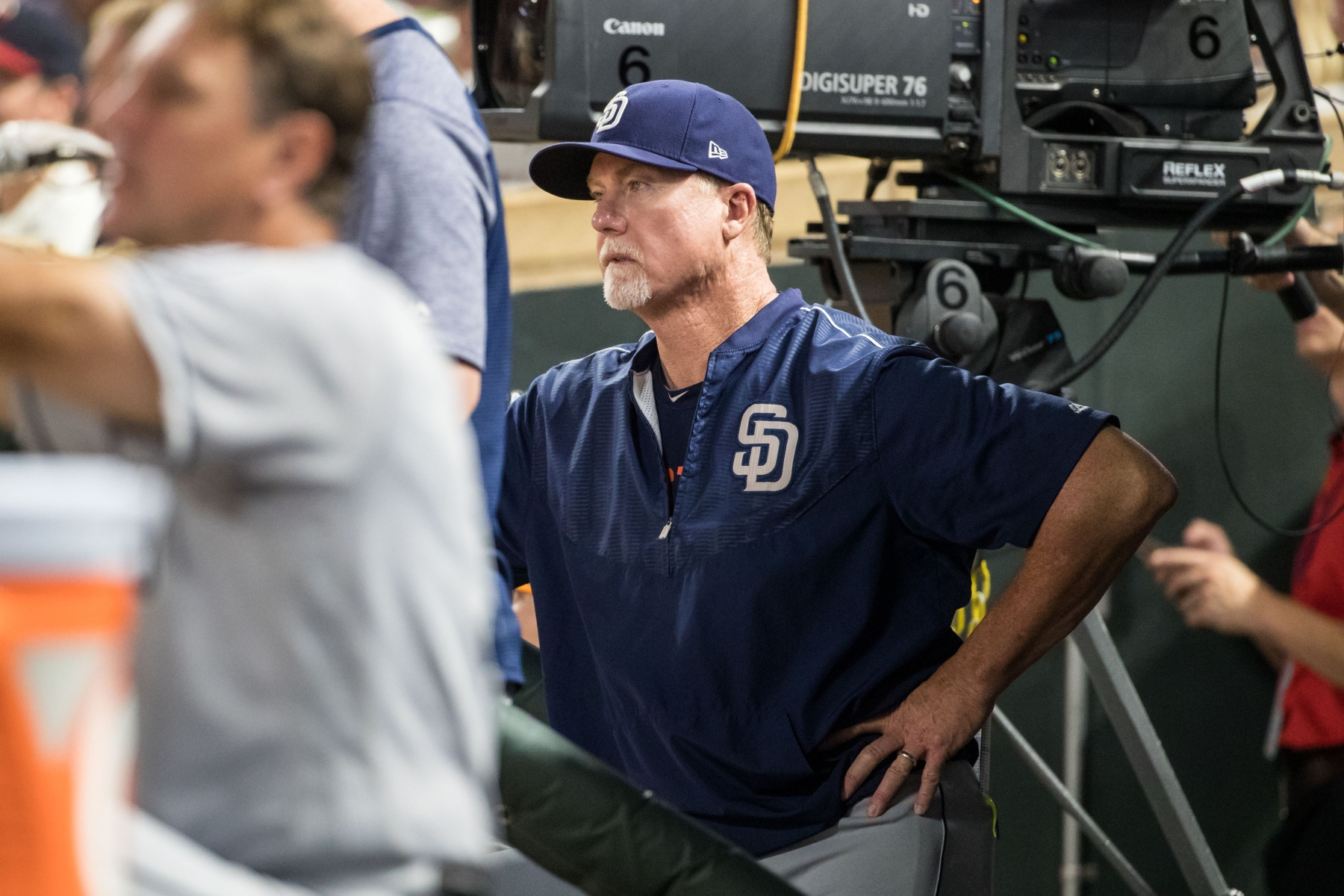 San Diego Padres hitting coach Mark McGwire #25 against the Minnesota Twins on September 13, 2017 at Target Field in Minneapolis, Minnesota. The Twins defeated the Padres 3-1. (Brace Hemmelgarn/Minnesota Twins/Getty Images)