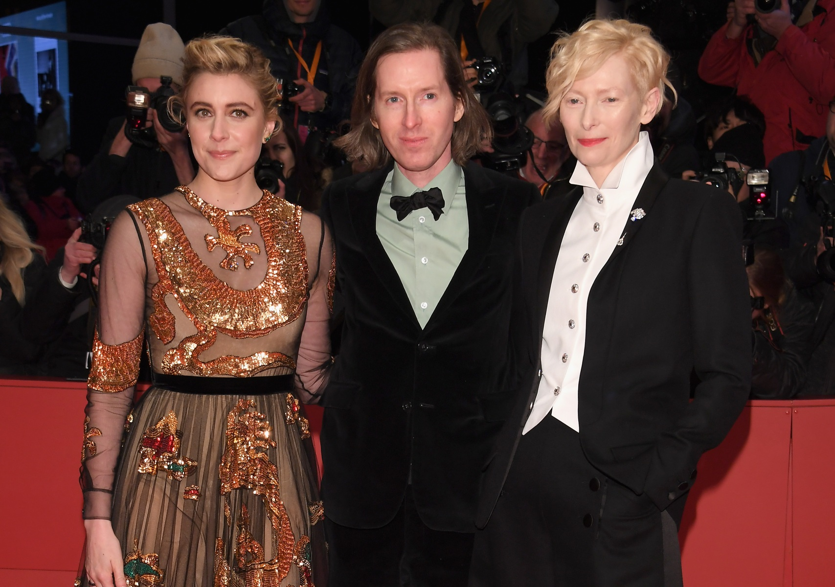Greta Gerwig, Wes Anderson and Tilda Swinton attend the Opening Ceremony & 'Isle of Dogs' premiere during the 68th Berlinale International Film Festival Berlin at Berlinale Palace on February 15, 2018 in Berlin, Germany.  (Dominique Charriau/WireImage)