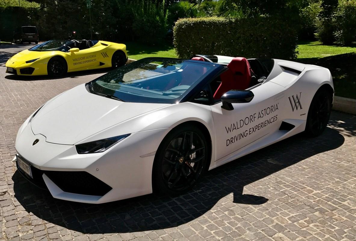 A Lamborghini Aventador available through the Waldorf Astoria Driving Experience (John Scott Lewinski)