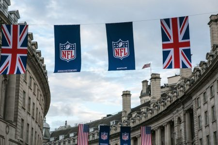 Flags draped across Regent Street celebrate the NFL's American football games on September 12, 2017, in London, England. (George Rose/Getty Images)