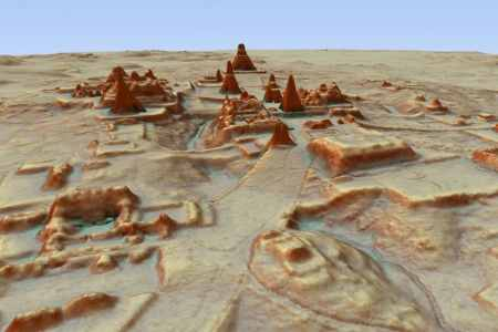 Digital 3-D image provided by Guatemala's Mayan Heritage and Nature Foundation, PACUNAM, shows a depiction of the Maya archaeological site at Tikal in Guatemala created using lidar aerial mapping technology.  (Canuto & Auld-Thomas/PACUNAM via AP)