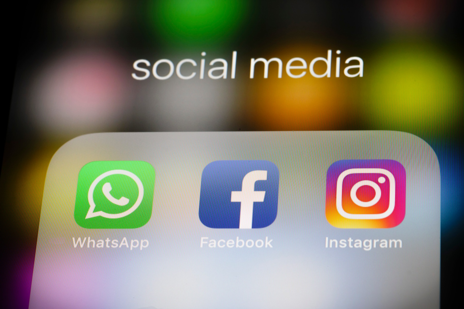 In this photo illustration the apps of social media networks WhatsApp, Facebook, and Instagram are displayed on a smartphone on February 12, 2018 in Berlin, Germany. (Photo Illustration by Thomas Trutschel/Photothek via Getty Images)