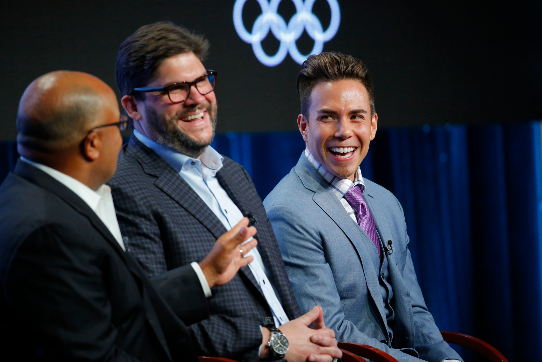 """NBCUNIVERSAL EVENTS -- NBCUniversal Press Tour, August 2017 -- """"The Winter Olympics"""" Session -- Pictured: (l-r) Mike Tirico, Primetime Host, NBC Olympics; Jim Bell, President, NBC Olympics Production & Programming; Apolo Ohno, Short Track Speed Skating Analyst -- (Photo by: Chris Haston/NBC/NBCU Photo Bank via Getty Images)"""