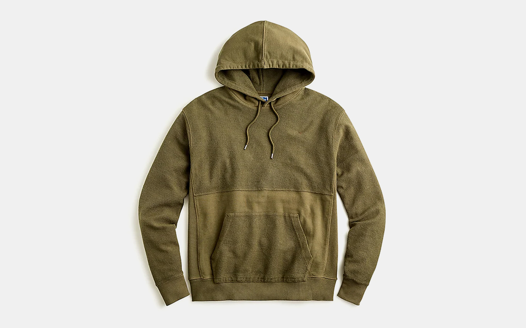 J.Crew Garment-Dyed Pieced French Terry Pullover Hoodie