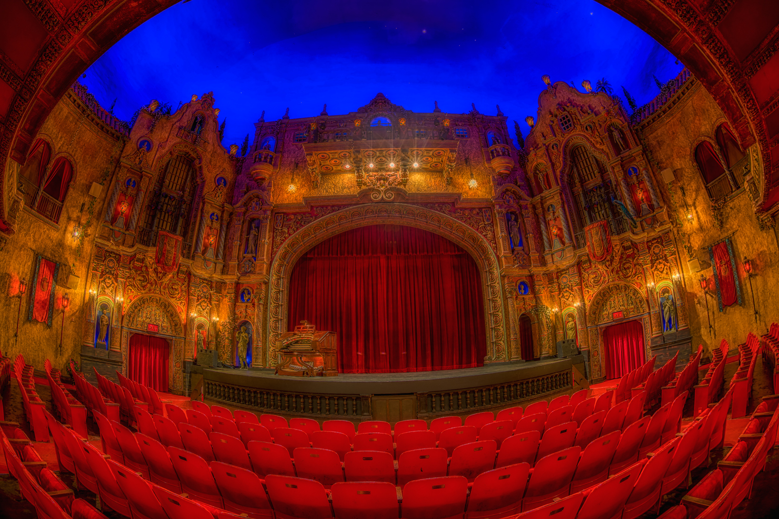 A full fisheye view of the Tampa Theatre in Tampa, Florida. (Matthew Paulson/Creative commons via Flickr)