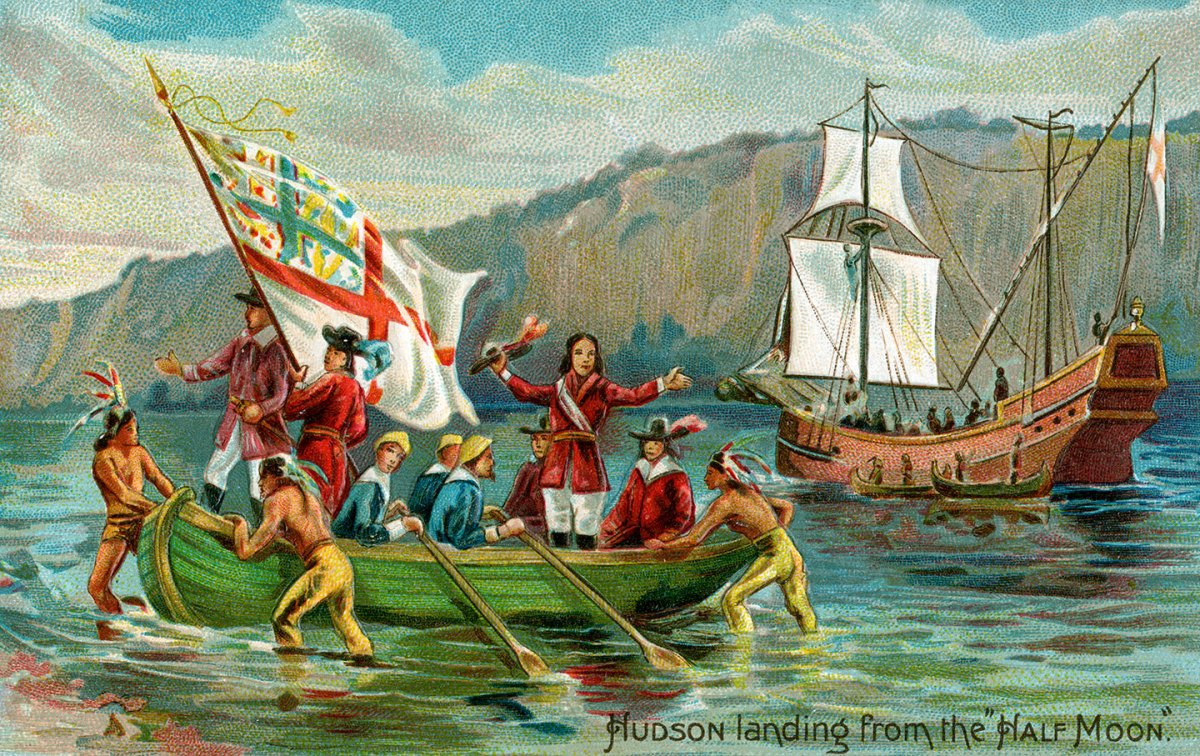 Vintage illustration of explorer Henry Hudson landing in New York from the ship Half-Moon; chromolithograph, 1905. (Photo by GraphicaArtis/Getty Images)